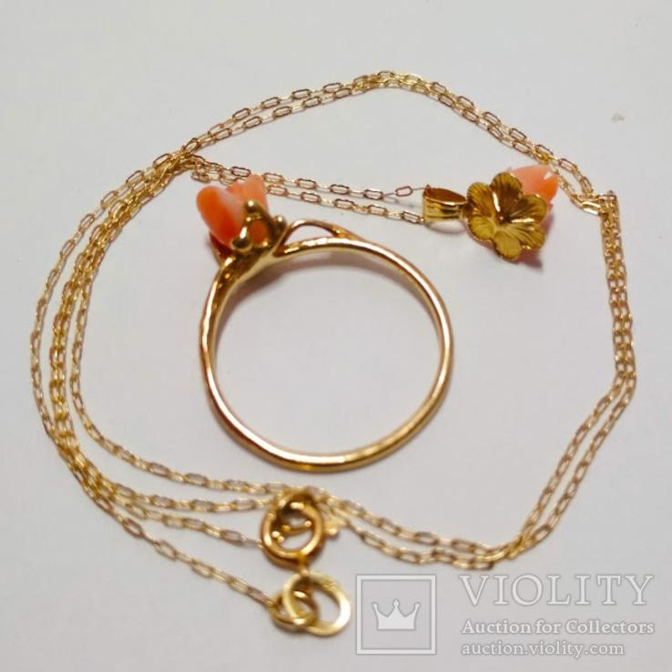 Золотой кулон и кольцо с натуральным розовым кораллом, фото №3