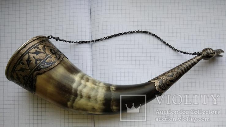 Рог изобилия серебро чернение кость, фото №2
