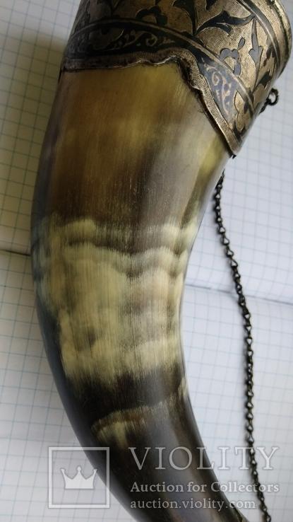 Рог изобилия серебро чернение кость, фото №5