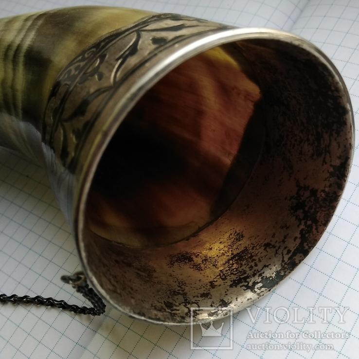 Рог изобилия серебро чернение кость, фото №6