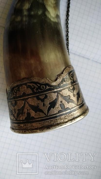 Рог изобилия серебро чернение кость, фото №9