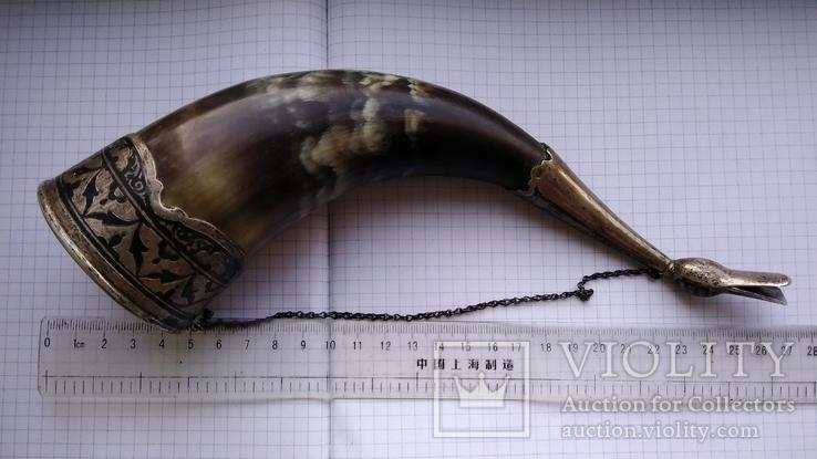 Рог изобилия серебро чернение кость, фото №13