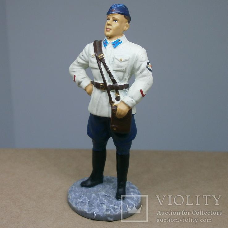 Лейтенант ВВС РККА в летней форме. 1941. Олово, раскрас, фото №2