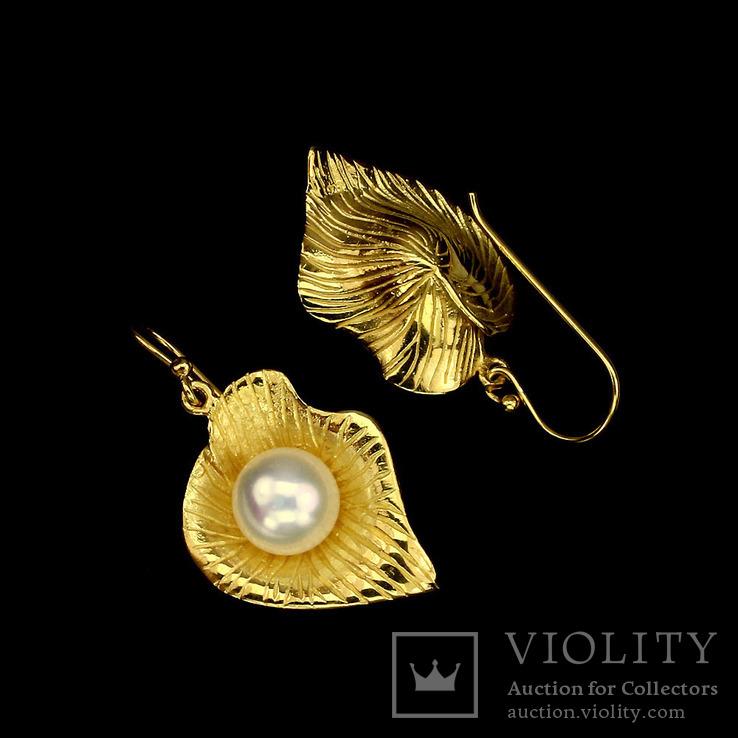 Серьгис натуральным жемчугом, фото №3