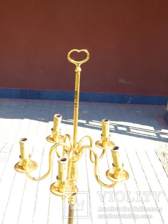 Элегантный торшер винтажного возраста, 5 лампочек, фото №3