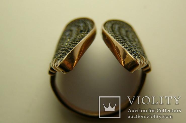 Кольцо Серебро 925 Позолота, Сапфиры, фото №6
