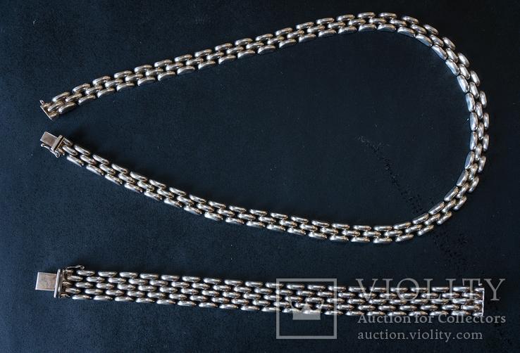 Колье и браслет Серебро 925. 77 грамм, фото №2