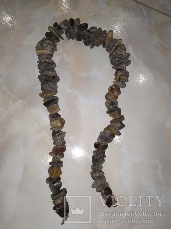Янтарь бусы 130 грамм, фото №3