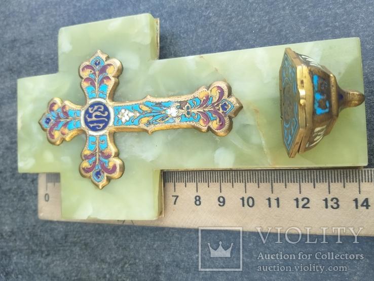 Бронзовый крест в эмалях, камень, фото №4