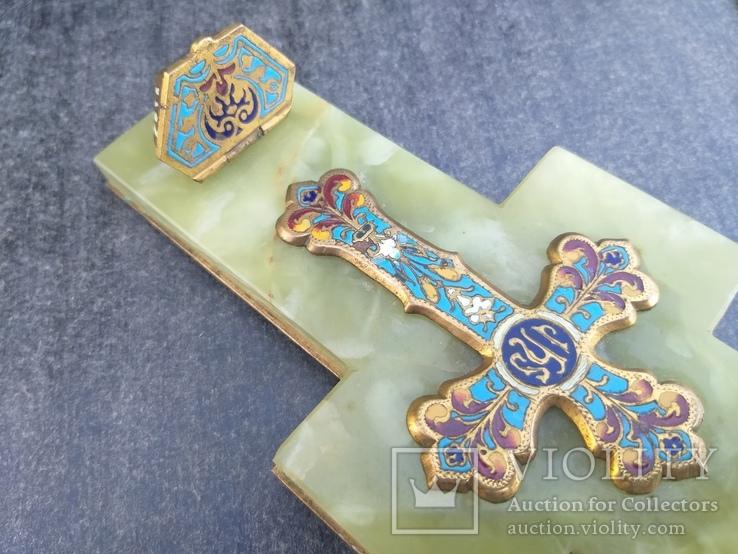 Бронзовый крест в эмалях, камень, фото №6