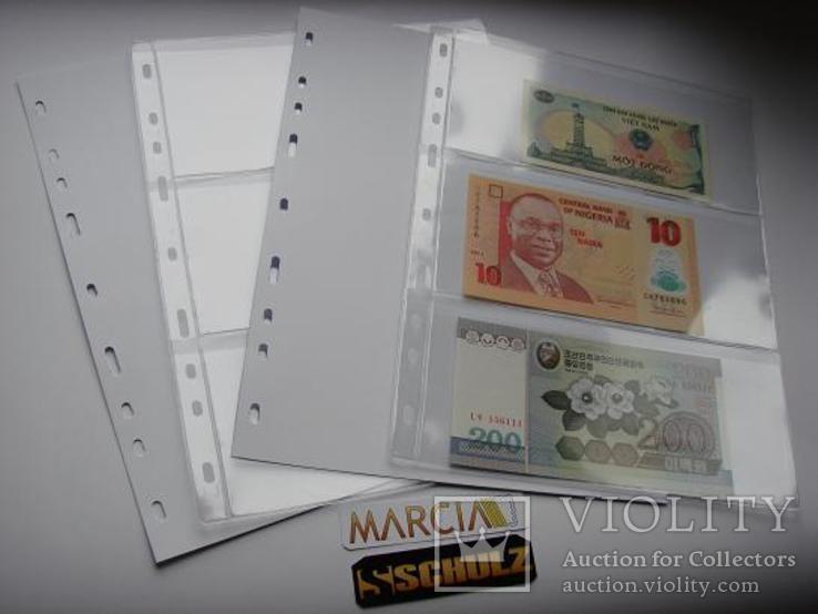 Листи для банкнот 10шт. №3. Три банкноти, фото №3