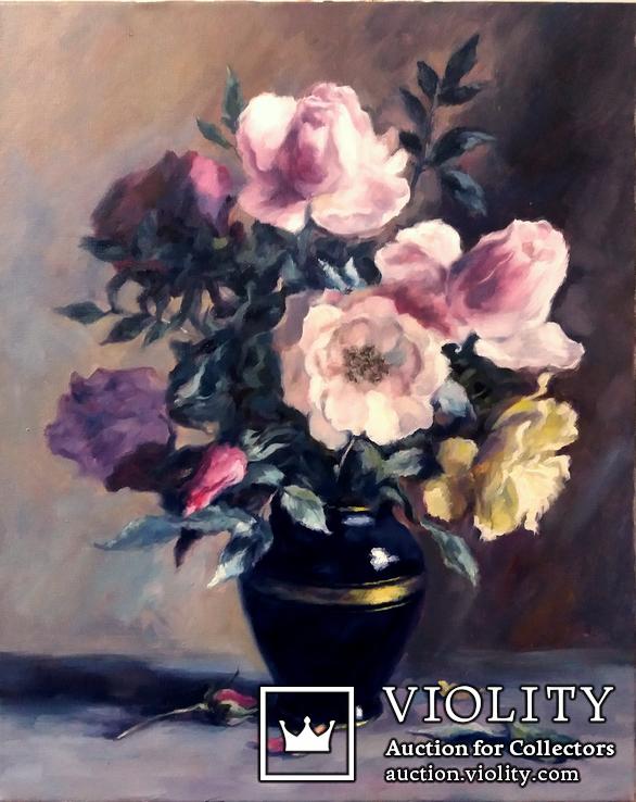 '' Букет роз''. Холст, масло. (50х40) П. Густов
