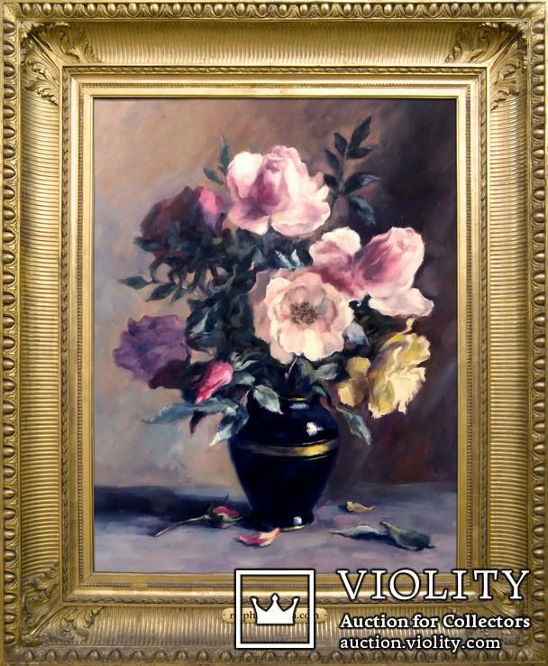 '' Букет роз''. Холст, масло. (50х40) П. Густов, фото №3