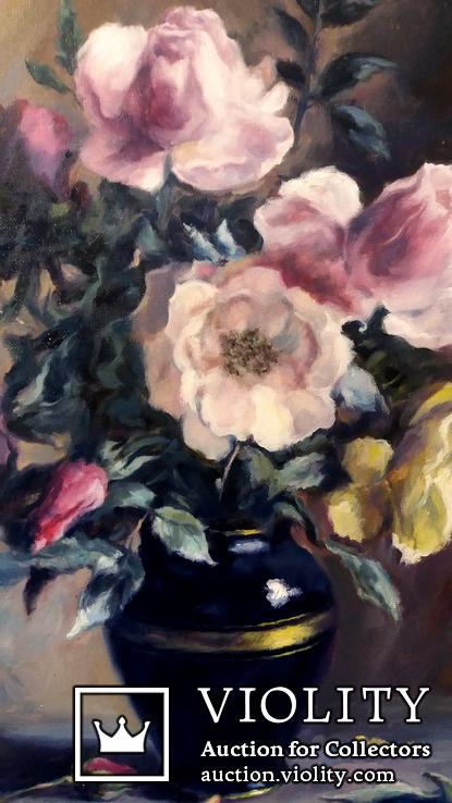 '' Букет роз''. Холст, масло. (50х40) П. Густов, фото №5