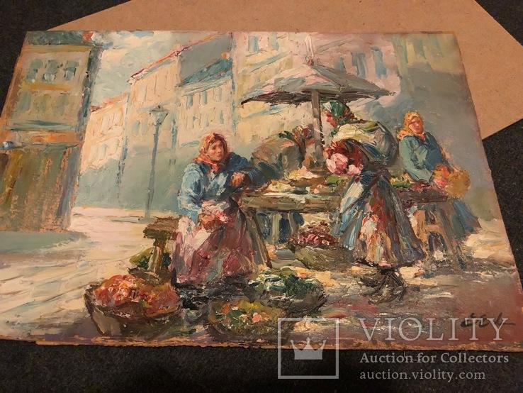 «Уличные торговки», Эрн Эрб, Сертификат, с аукциона, фото №3
