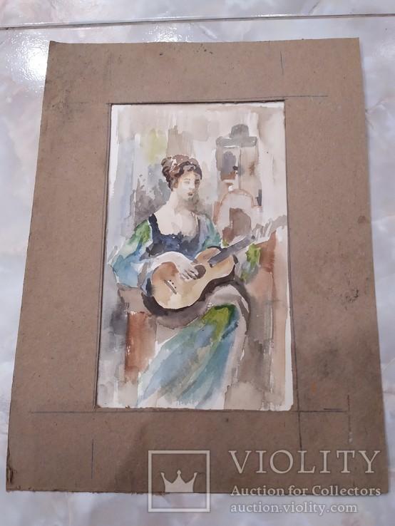 Портрет девушки акварель, фото №3