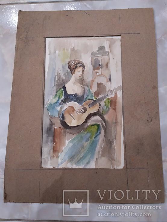 Портрет девушки акварель, фото №5