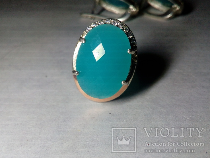 Кольцо и серьги серебро 925 с золотой вставкой и большим камнем, фото №4