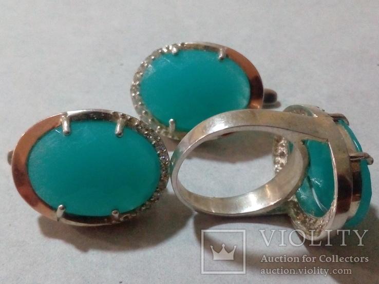 Кольцо и серьги серебро 925 с золотой вставкой и большим камнем, фото №2