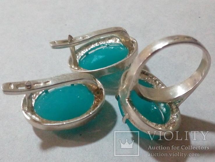 Кольцо и серьги серебро 925 с золотой вставкой и большим камнем, фото №6