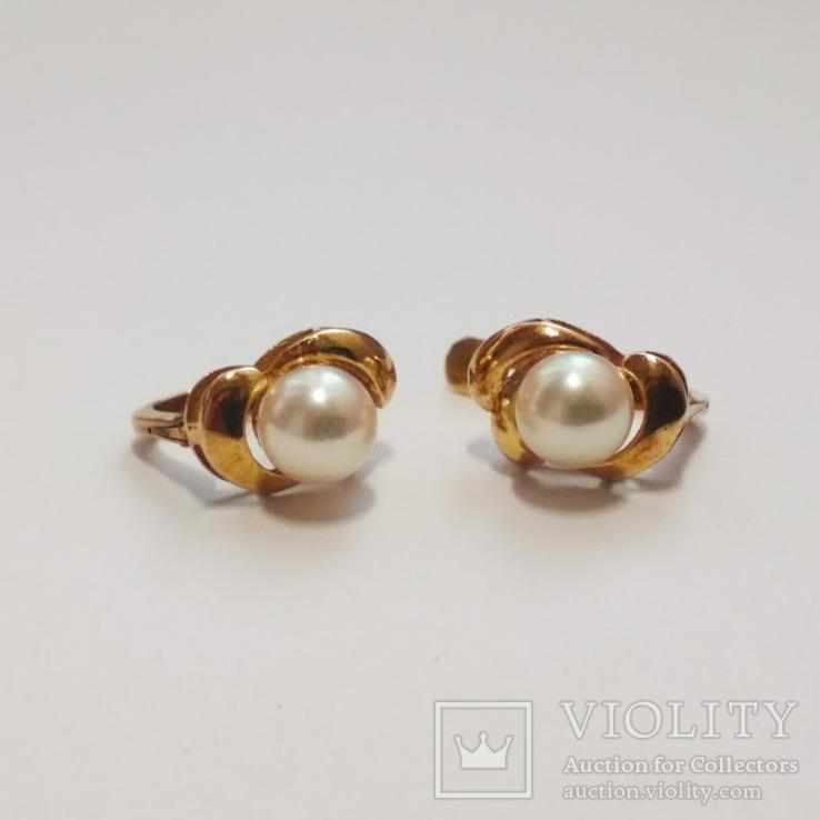 Золотые серьги с жемчугом, фото №4