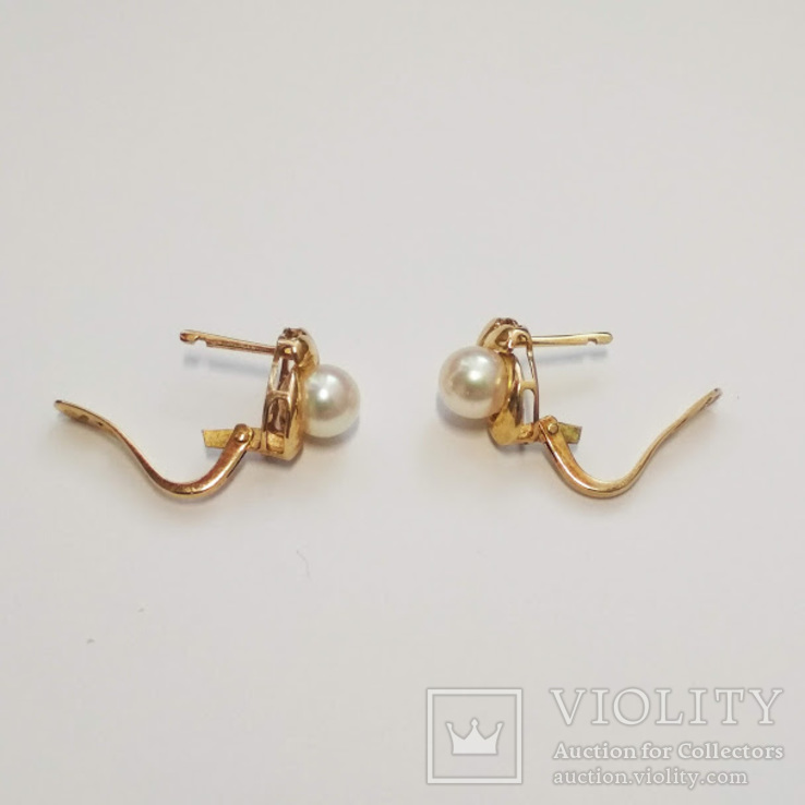 Золотые серьги с жемчугом, фото №6