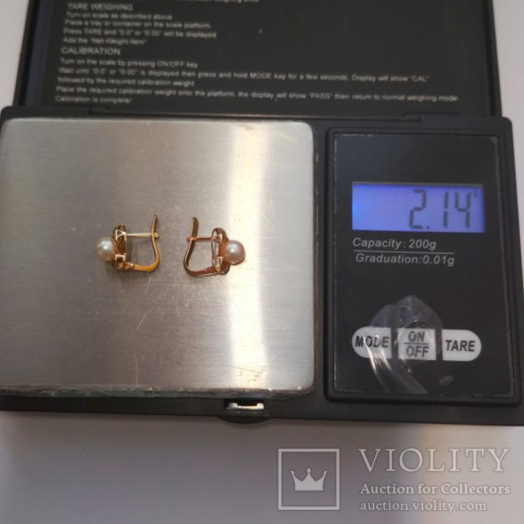 Золотые серьги с жемчугом, фото №7