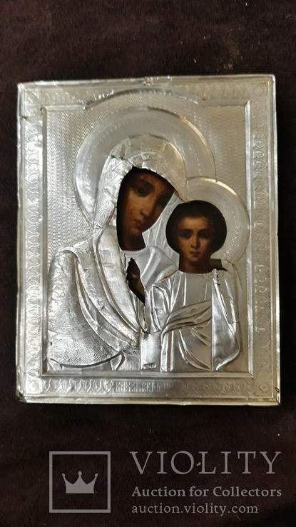 Срібна  Ікона Казанская Божа матір в кіоті, фото №3