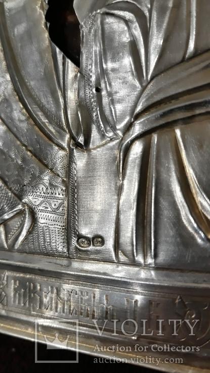 Срібна  Ікона Казанская Божа матір в кіоті, фото №4
