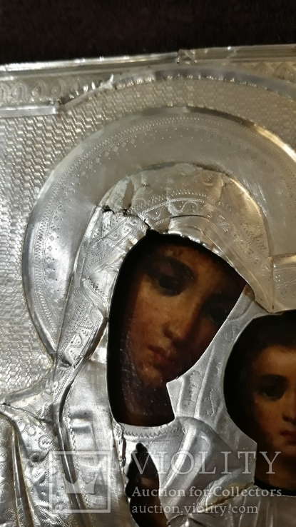 Срібна  Ікона Казанская Божа матір в кіоті, фото №7