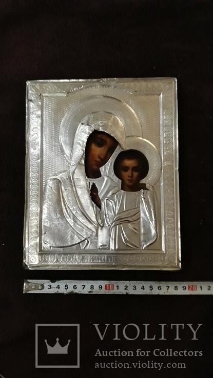 Срібна  Ікона Казанская Божа матір в кіоті, фото №11