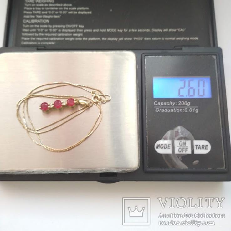 Золотая подвеска с натуральными рубинами и бриллиантами, фото №7