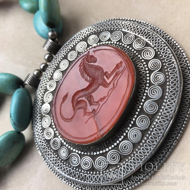 Масивное старое украшение (бирюза,гемма из сердолика,серебро), фото №3