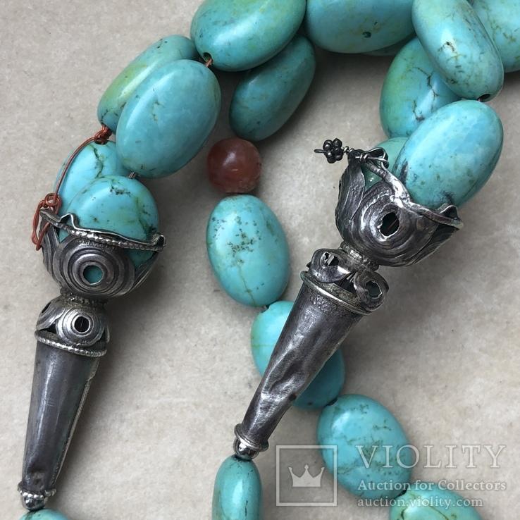 Масивное старое украшение (бирюза,гемма из сердолика,серебро), фото №7