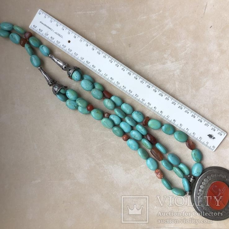 Масивное старое украшение (бирюза,гемма из сердолика,серебро), фото №11