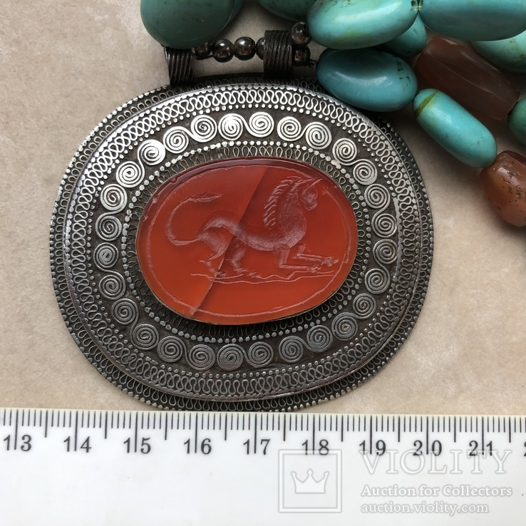 Масивное старое украшение (бирюза,гемма из сердолика,серебро), фото №12