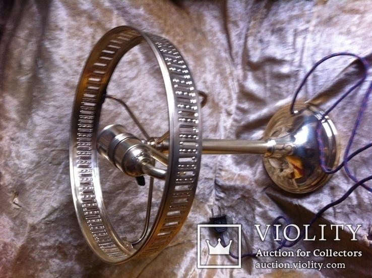 Латунная Настольная Лампа Двойное Цветное Стекло, фото №3
