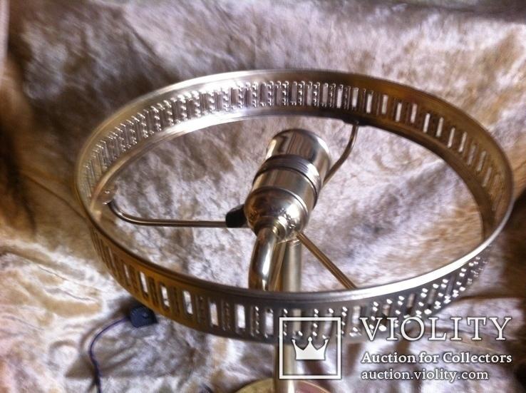 Латунная Настольная Лампа Двойное Цветное Стекло, фото №4
