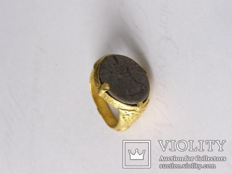 Перстень 11-13 век, золото ,камень, фото №9
