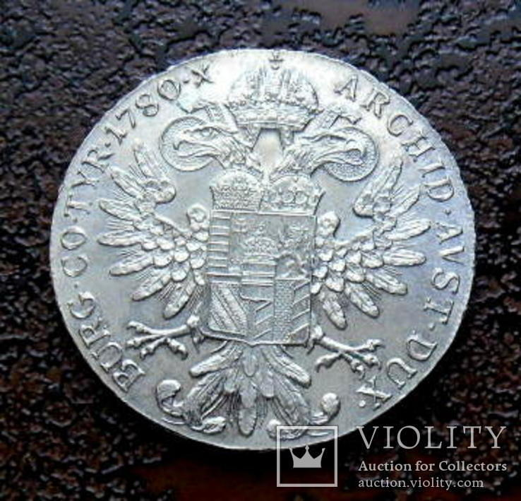 Талер Австро-Венгрии 1780 состояние UNC серебро рестрайк, фото №5