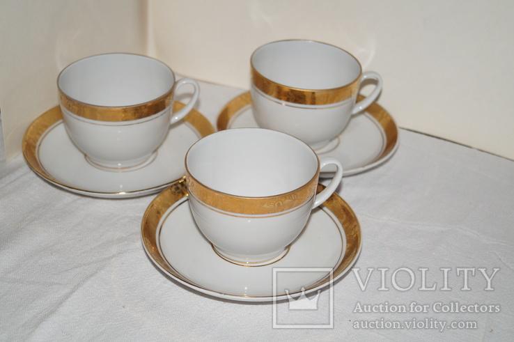 """Чайные чашки с блюдцами """"ЛФЗ"""" Позолота. 3 шт., фото №2"""