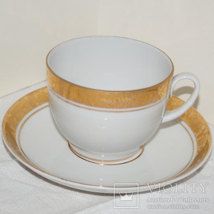 """Чайные чашки с блюдцами """"ЛФЗ"""" Позолота. 3 шт., фото №3"""
