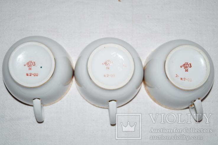 """Чайные чашки с блюдцами """"ЛФЗ"""" Позолота. 3 шт., фото №4"""