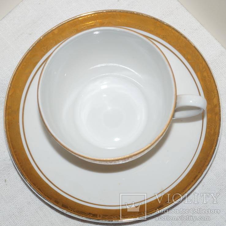 """Чайные чашки с блюдцами """"ЛФЗ"""" Позолота. 3 шт., фото №7"""