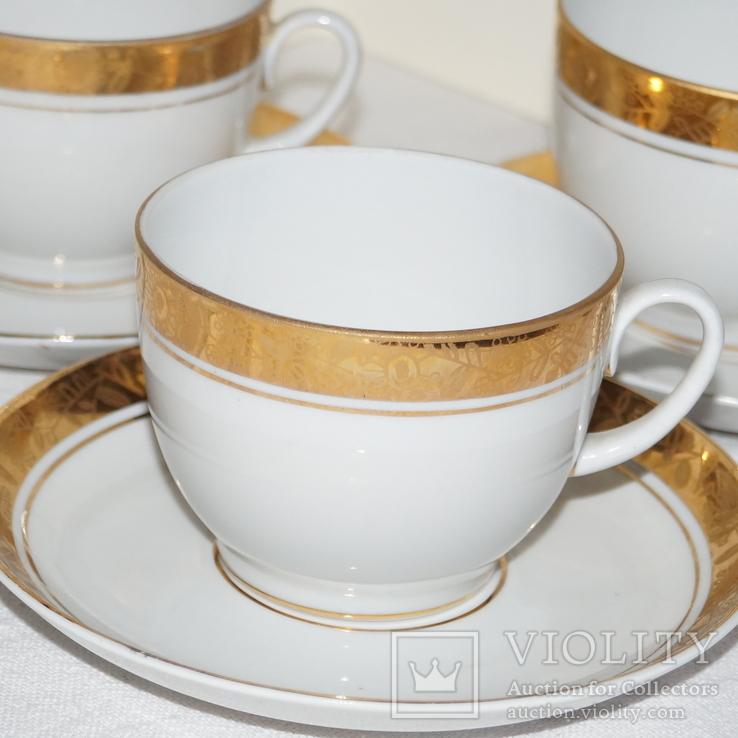 """Чайные чашки с блюдцами """"ЛФЗ"""" Позолота. 3 шт., фото №8"""