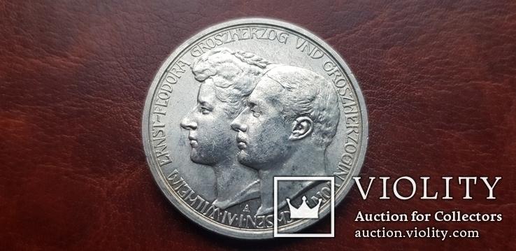 3 марки 1910 г.  Саксен Веймар Айзенах. Свадьба Вильгельма Эрнста и Феодоры., фото №2