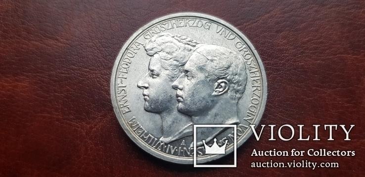 3 марки 1910 г.  Саксен Веймар Айзенах. Свадьба Вильгельма Эрнста и Феодоры., фото №6
