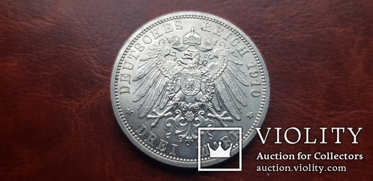 3 марки 1910 г.  Саксен Веймар Айзенах. Свадьба Вильгельма Эрнста и Феодоры., фото №9