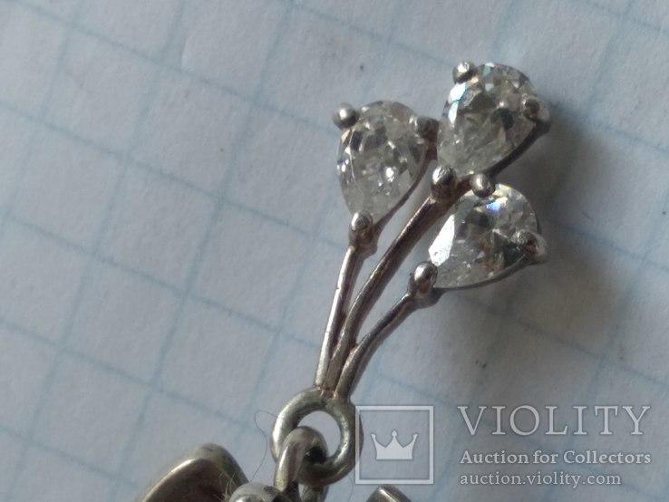Серьги серебро 925, трезубец, фото №3