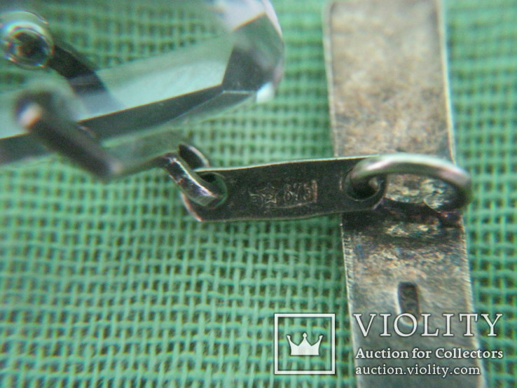 Запонки серебро 875 камень ( 6ПЗ ) 11.1гр., фото №7
